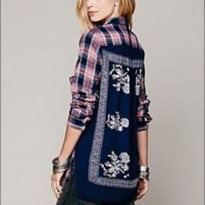 Free People Plaid Flannel Long Sleeve Shirt Sz XS